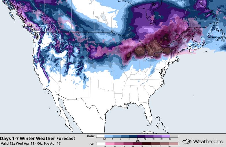 Snowfall Accumulation through Monday, April 16, 2018