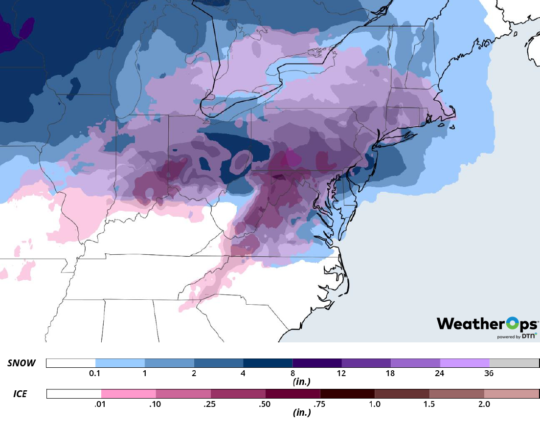Snow and Ice Accumulation for Wednesday, February 20, 2019