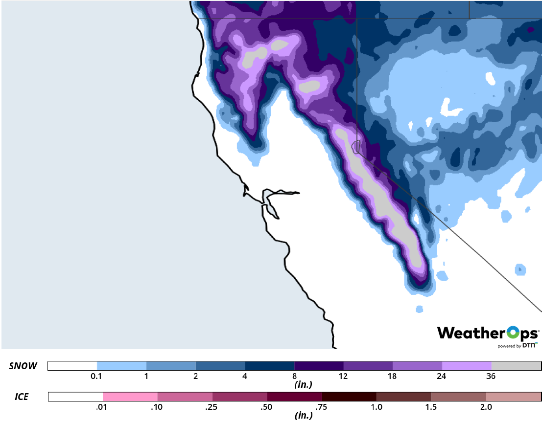 Snow Accumulation for February 13-14, 2019