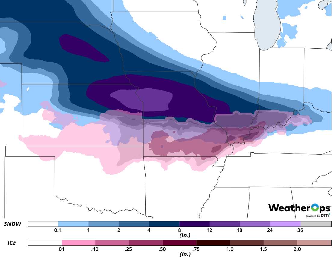 Snow Accumulation for Friday, February 15, 2019