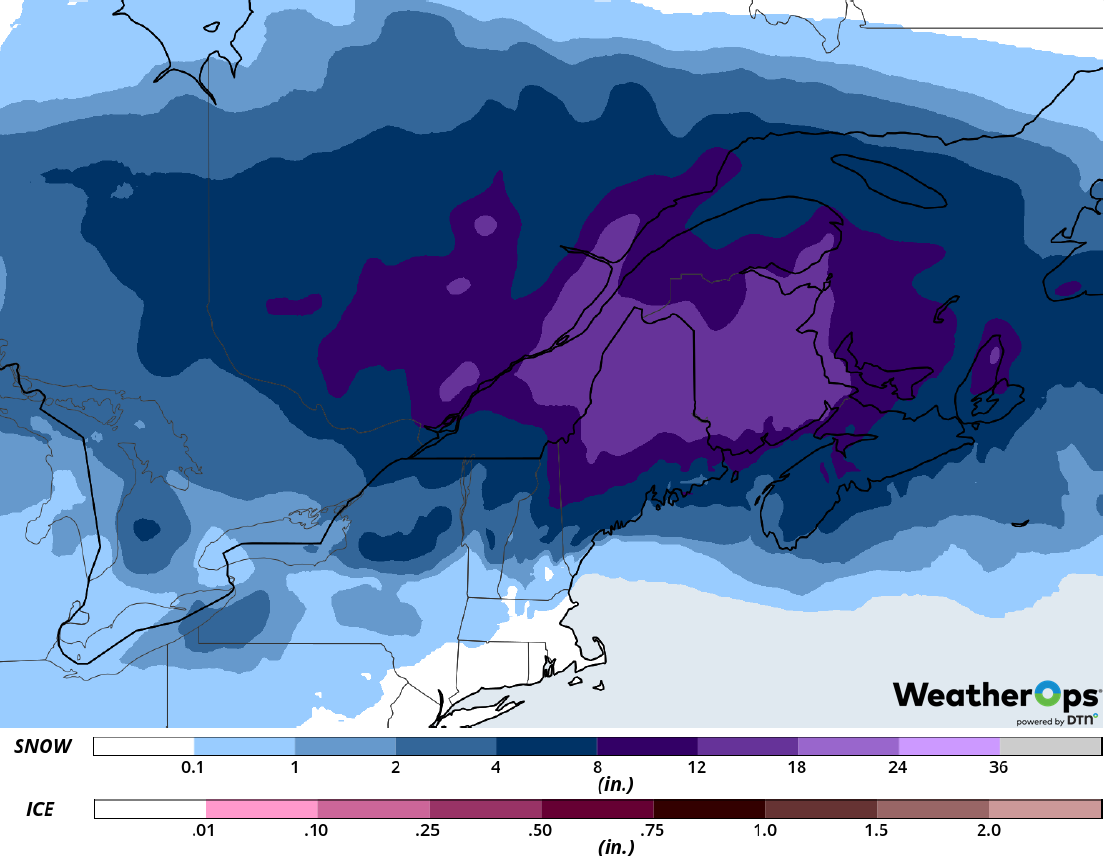 Snow Accumulation for Wednesday, February 12, 2019