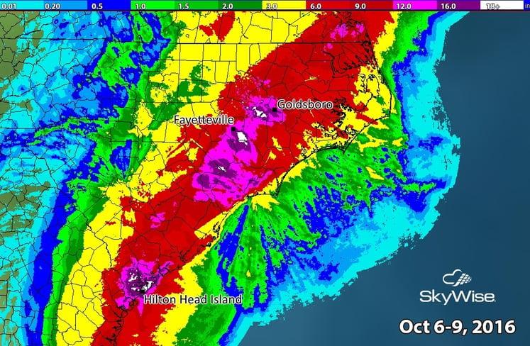 Rainfall from Hurricane Matthew