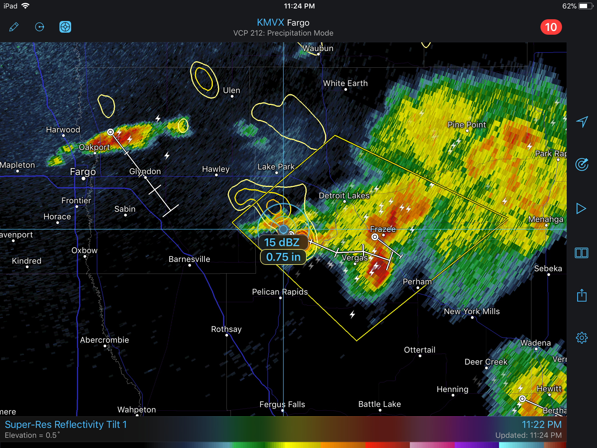 Storm Tracks and Hail Contours in RadarScope