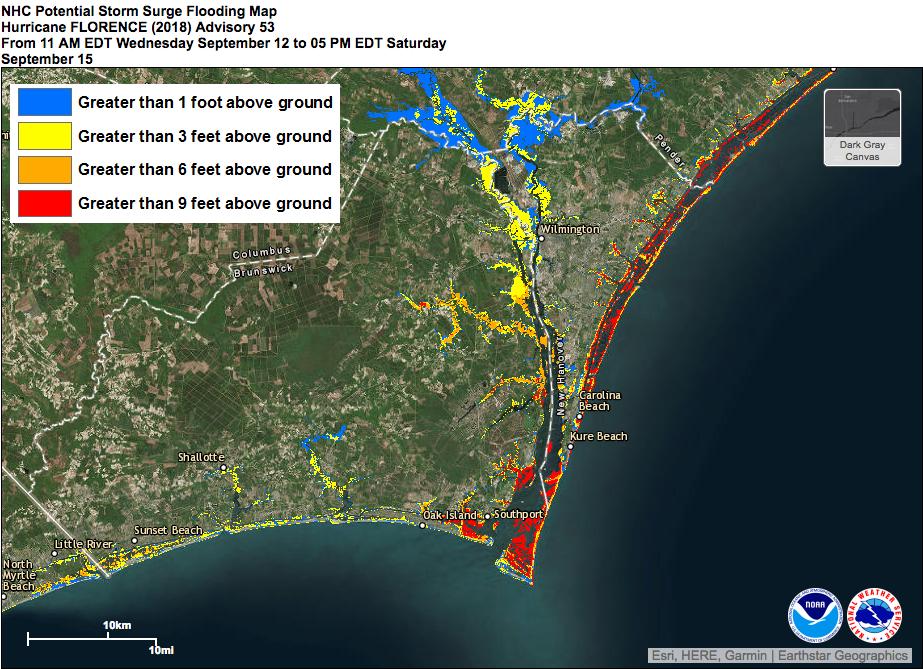 Cape Fear Storm Surge Map