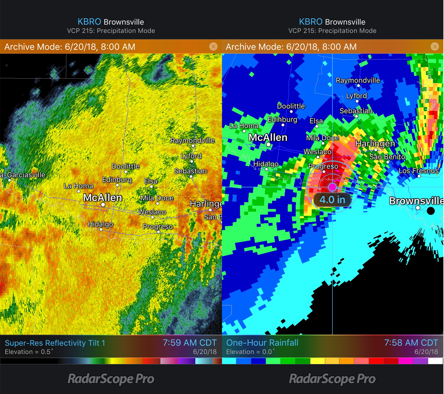 Reflectivity and One Hour Rainfall 6/20/18 8am CDT