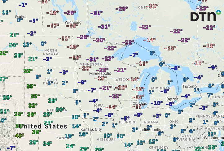 Cold Temperatures Seen Across the Midwest on January 31, 2019