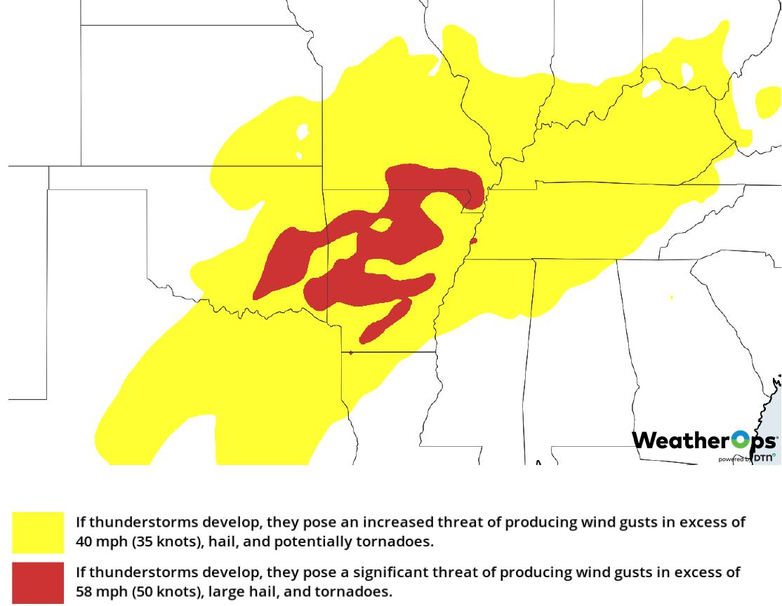 Thunderstorm Risk for Wednesday, February 6, 2019