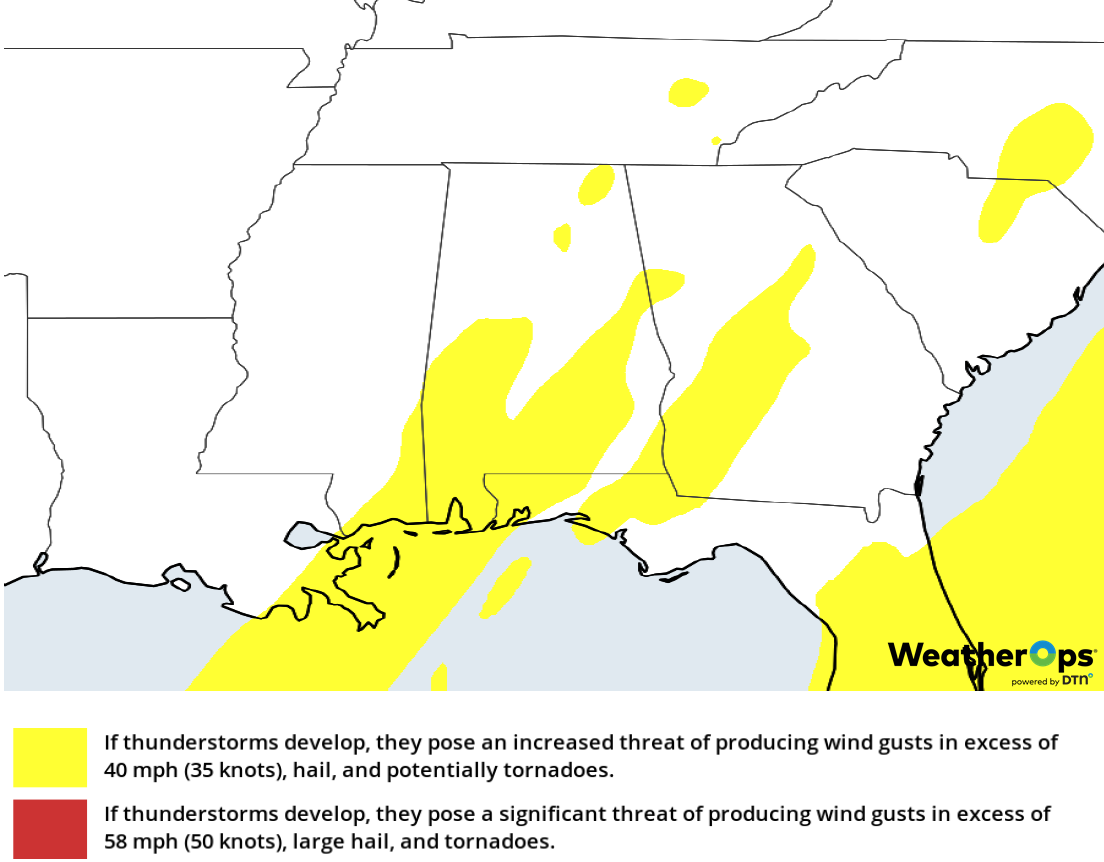 Thunderstorm Risk for Tuesday, February 12, 2019