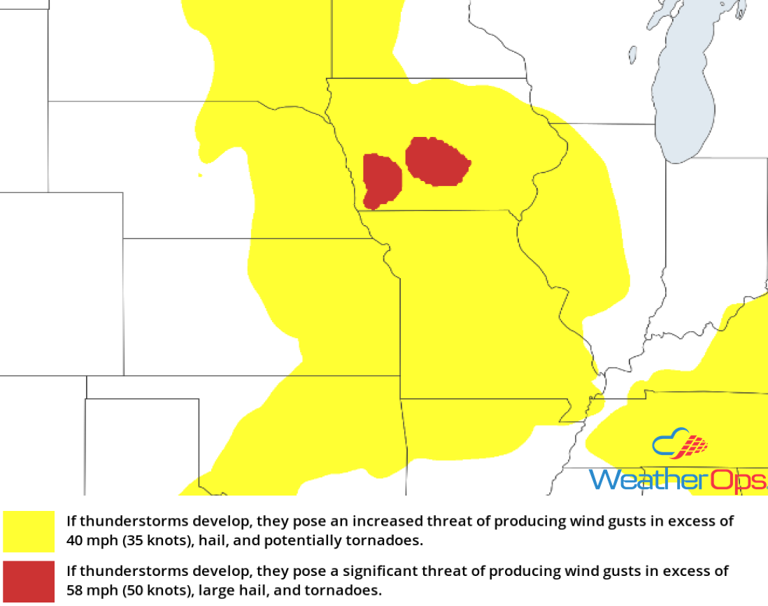 Thunderstorm Risk for Monday, June 25, 2018