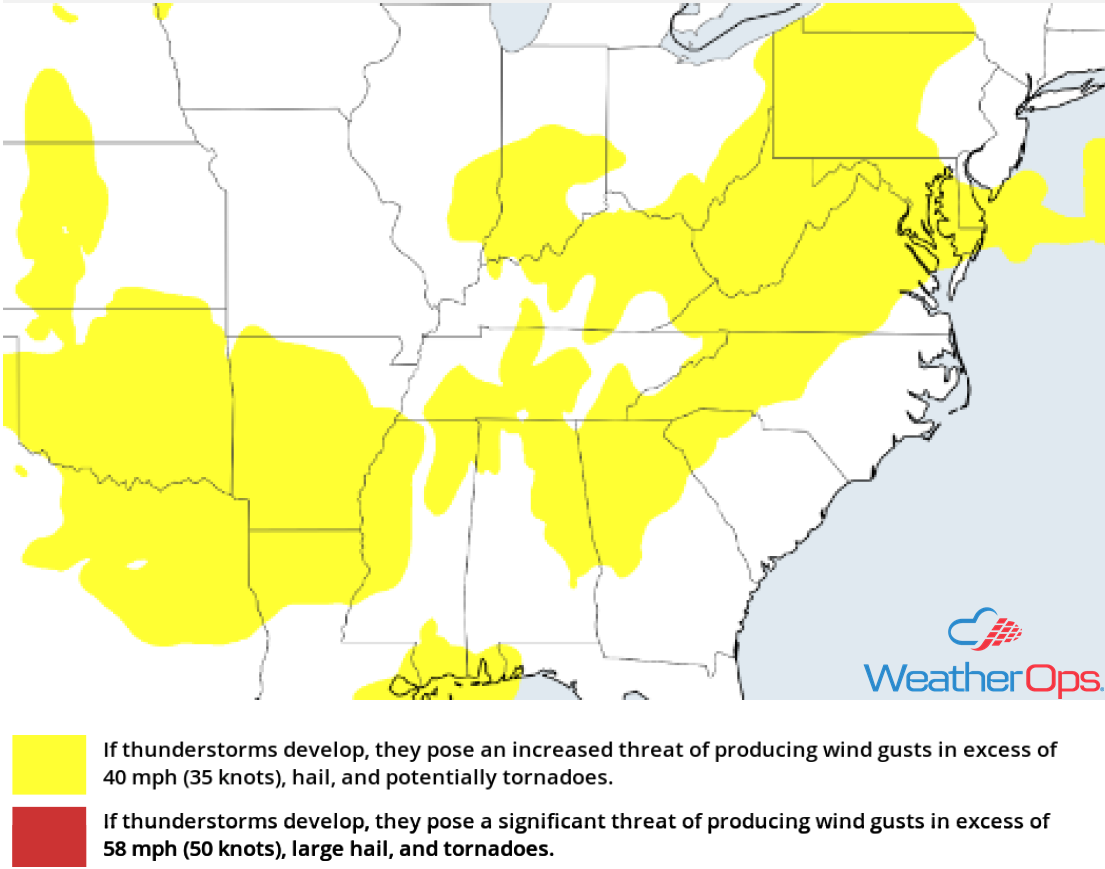 Thunderstorm Risk for Monday, July 30, 2018