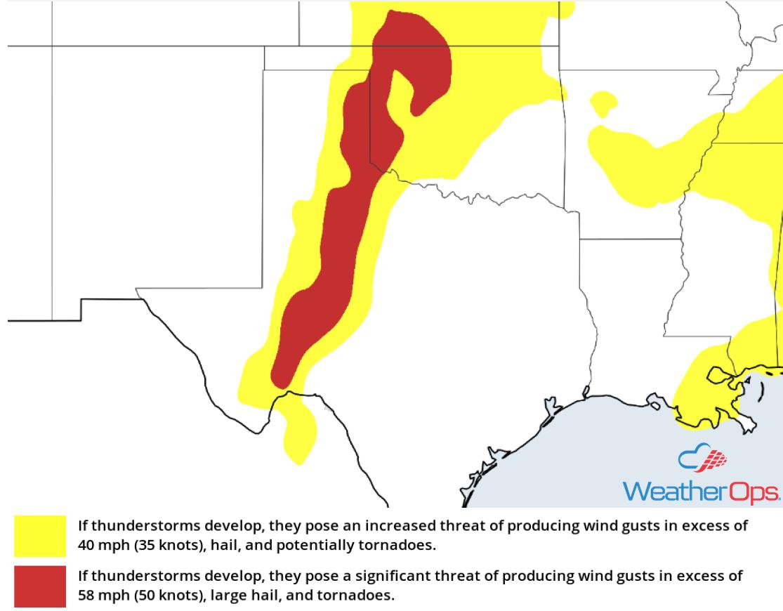 Thunderstorm Risk for Friday, June 1, 2018
