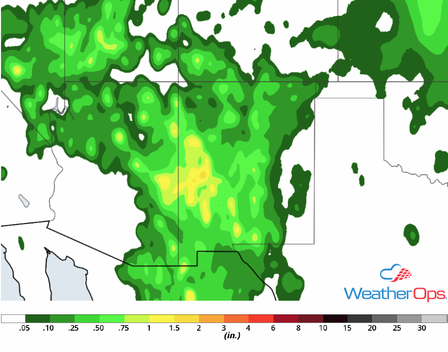 Rainfall Accumulation for Friday, July 13, 2018