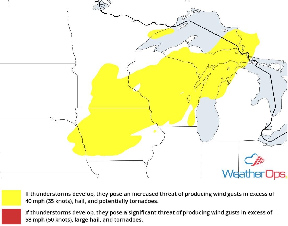 Thunderstorm Risk for Wednesday, August 1, 2018