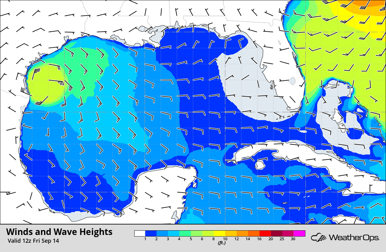 Winds and Wave Heights 7am CDT 9/14/18