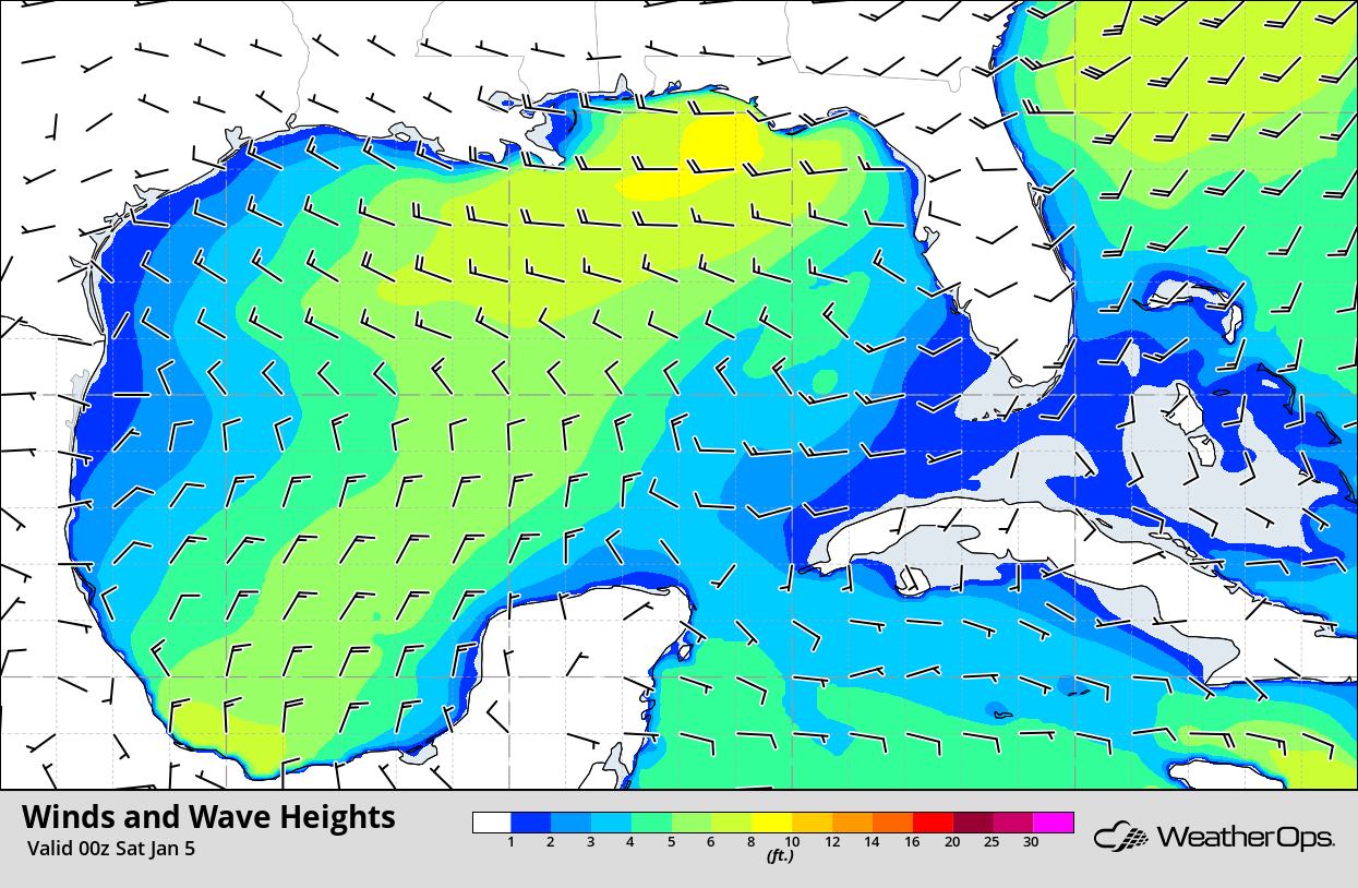 Winds and Wave Heights 6pm CST Friday, January 4, 2019