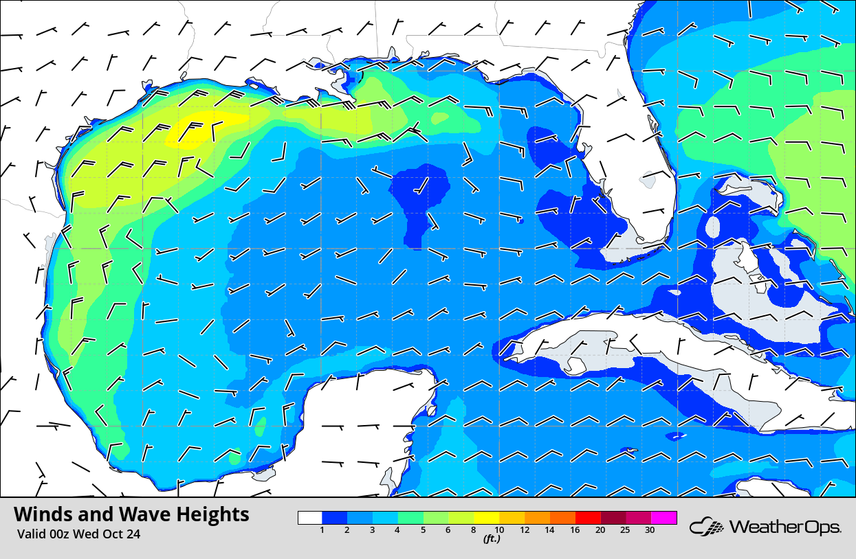 Winds and Wave Heights 7pm CDT Tuesday, October 23, 2018