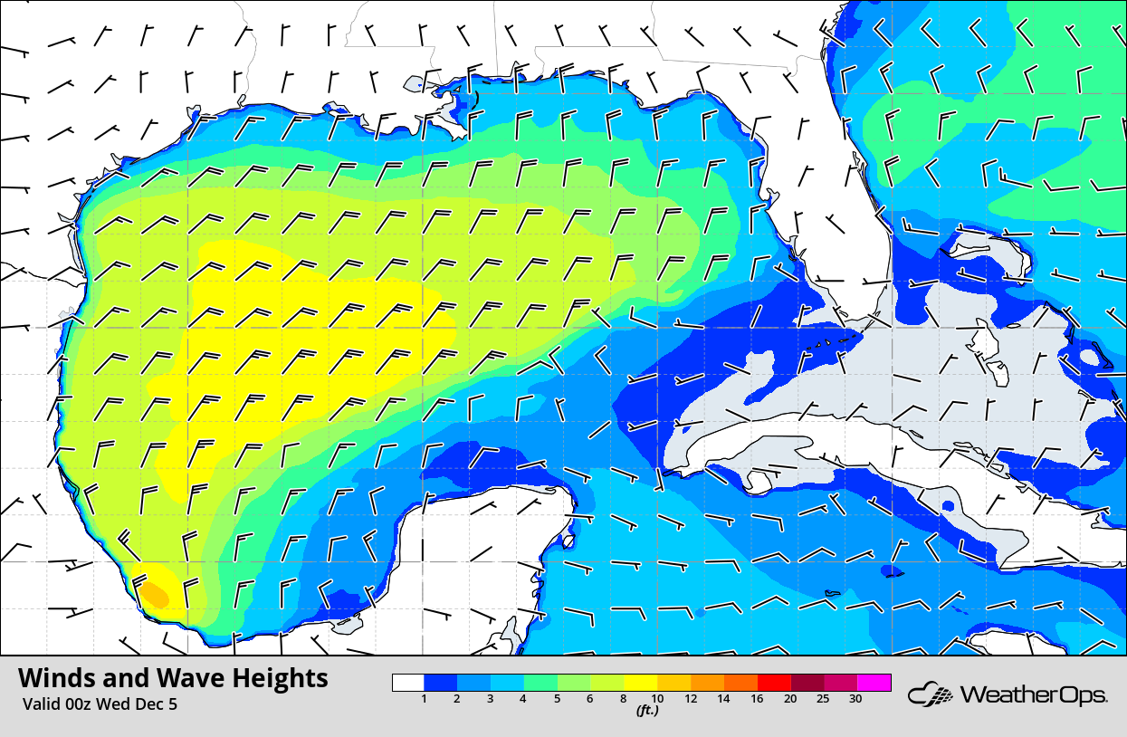 Winds and Wave Heights 6pm CST Tuesday, December 4, 2018