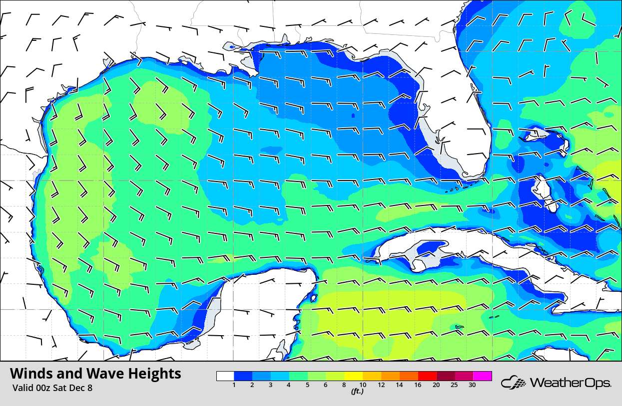 Winds and Wave Heights for 6pm CST Friday, December 7, 2018