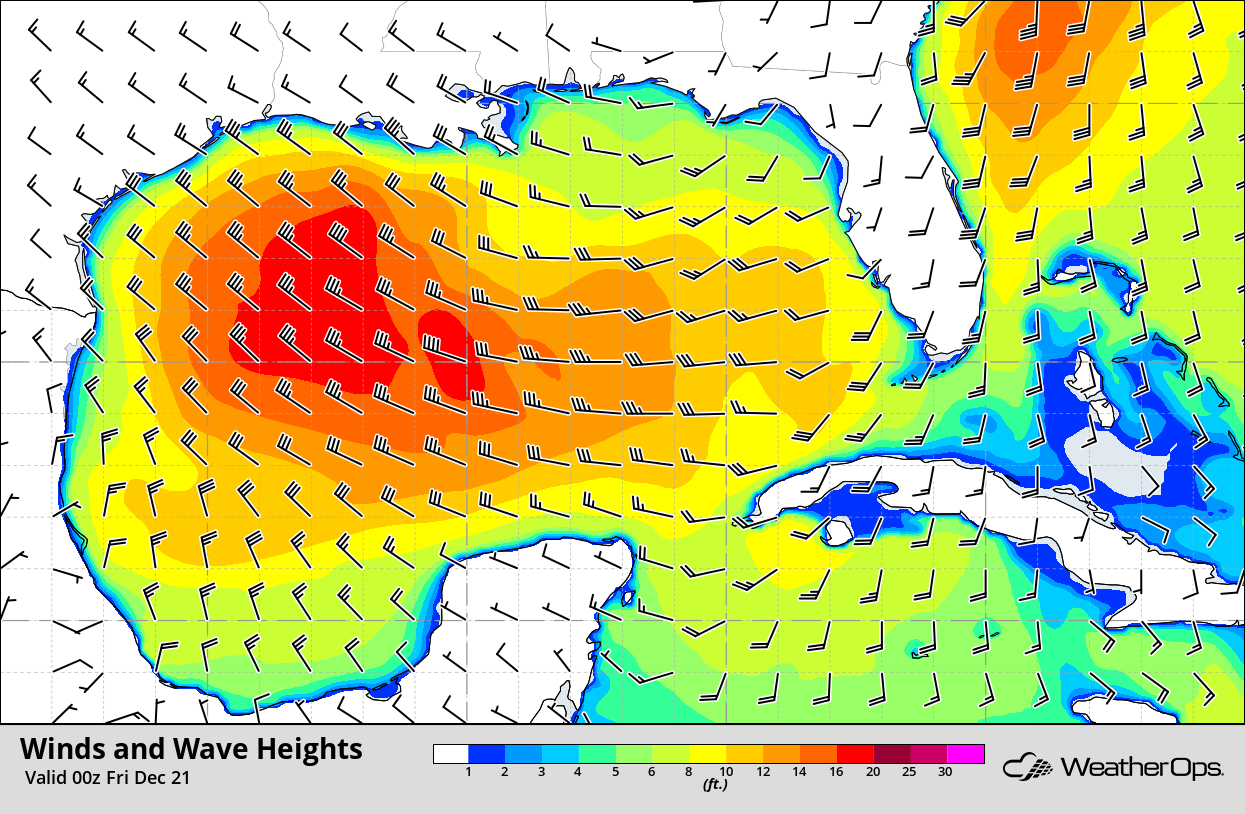Winds and Wave Heights 6pm CST Thursday, December 20, 2018