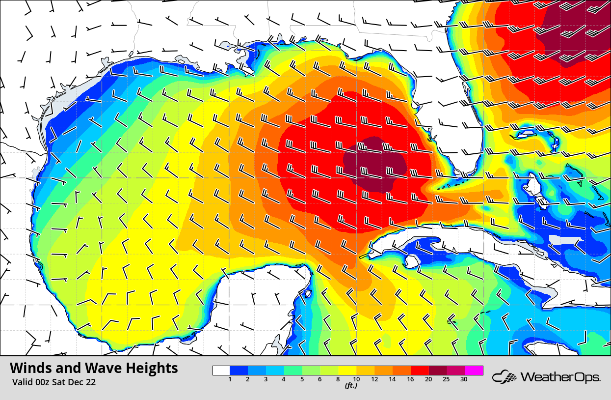 Winds and Wave Heights 6pm CST Friday, December 21, 2018