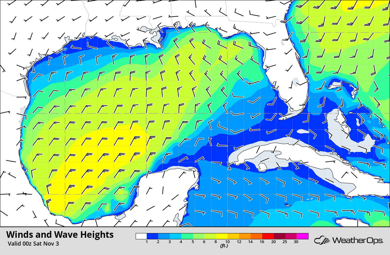 Winds and Wave Heights 7pm CDT Friday, November 2, 2018