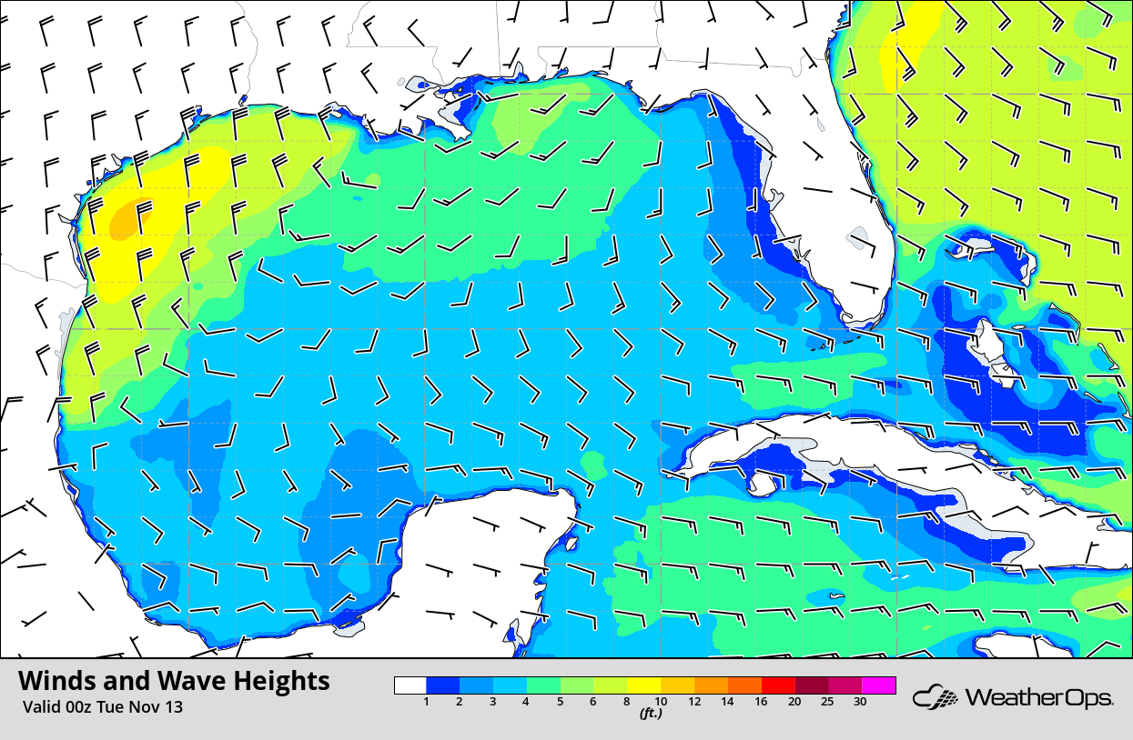 Winds and Wave Heights 6pm CST Monday, November 12, 2018