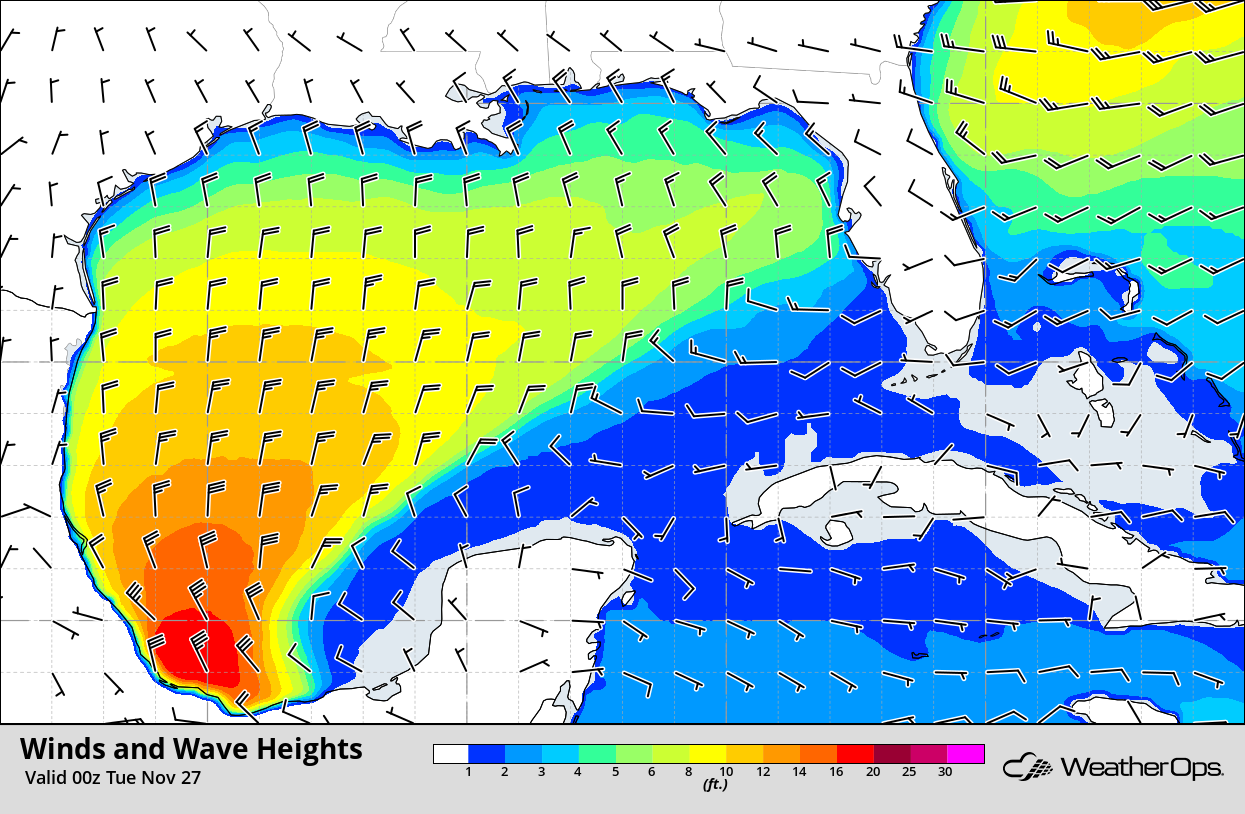 Winds and Wave Heights 6pm CST Monday, November 26, 2018