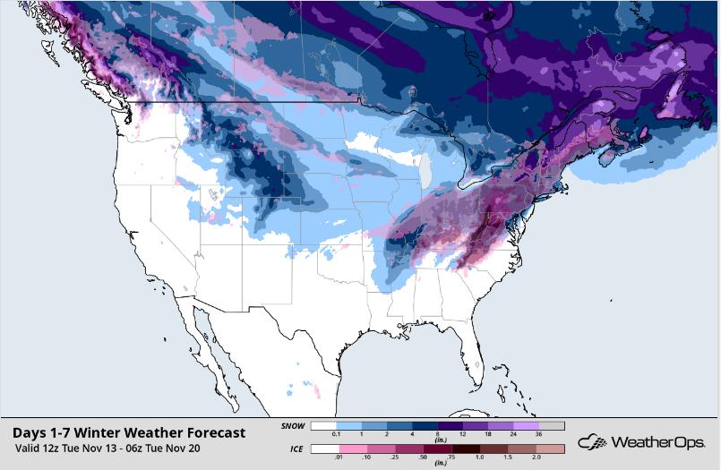 WeatherOps Snow Accumulation Forecast - Nov 13-20