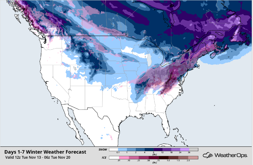 WeatherOps Snow Accumulation Forecast - Nov 13-20