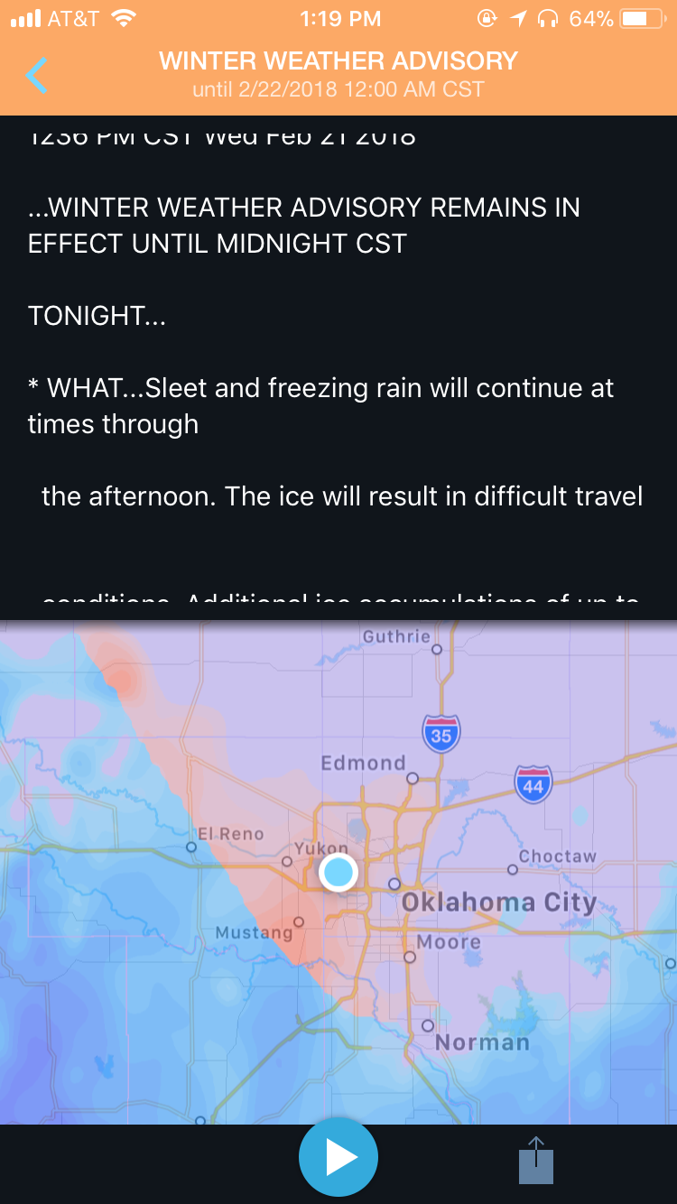 Winter Weather Advisory in the WeatherOps app