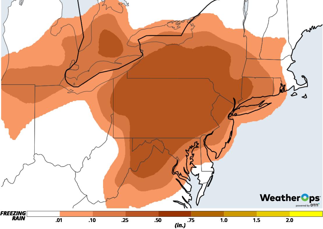 Freezing Rain Accumulation for February 11-12, 2019