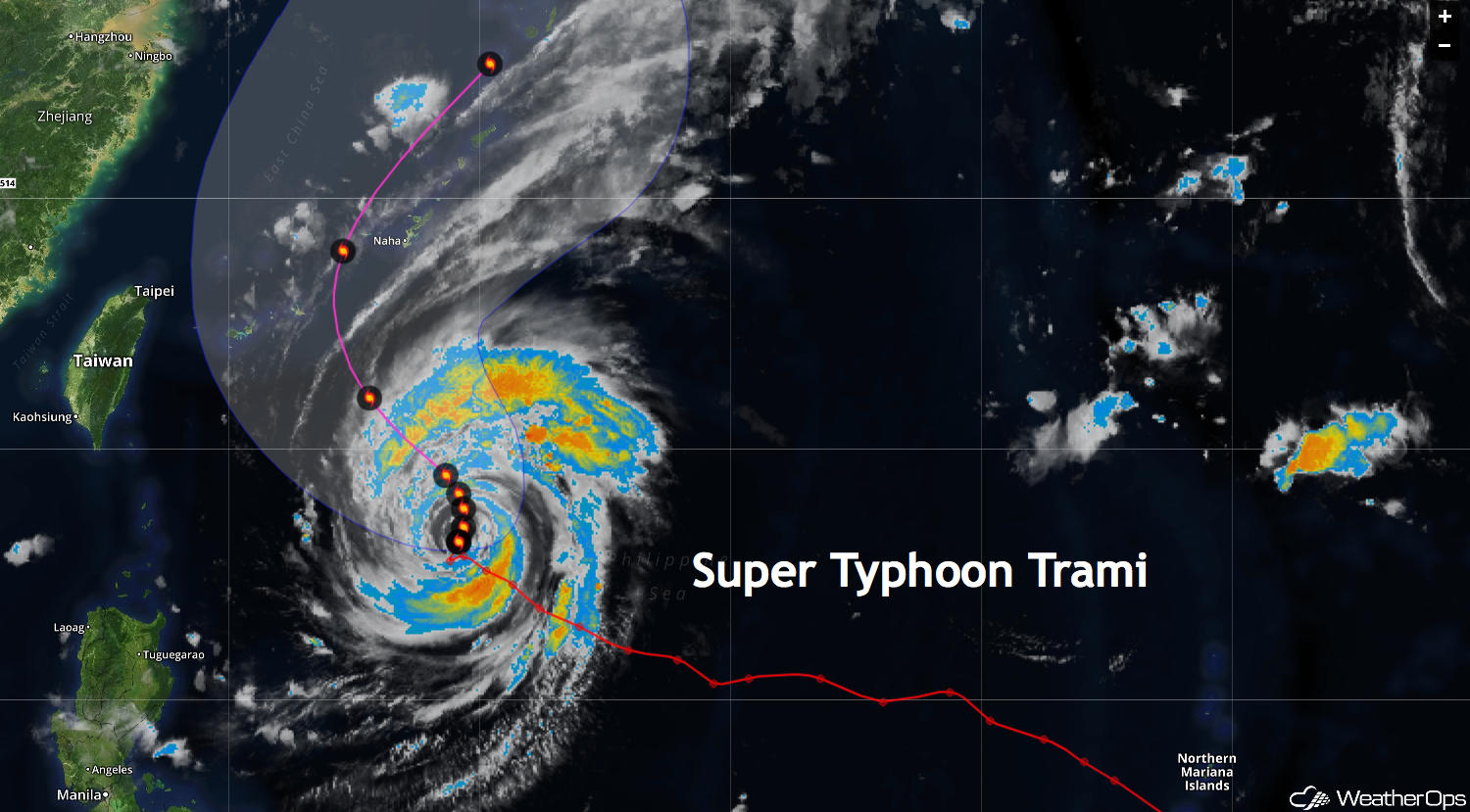 Super Typhoon Trami Heads for Japan