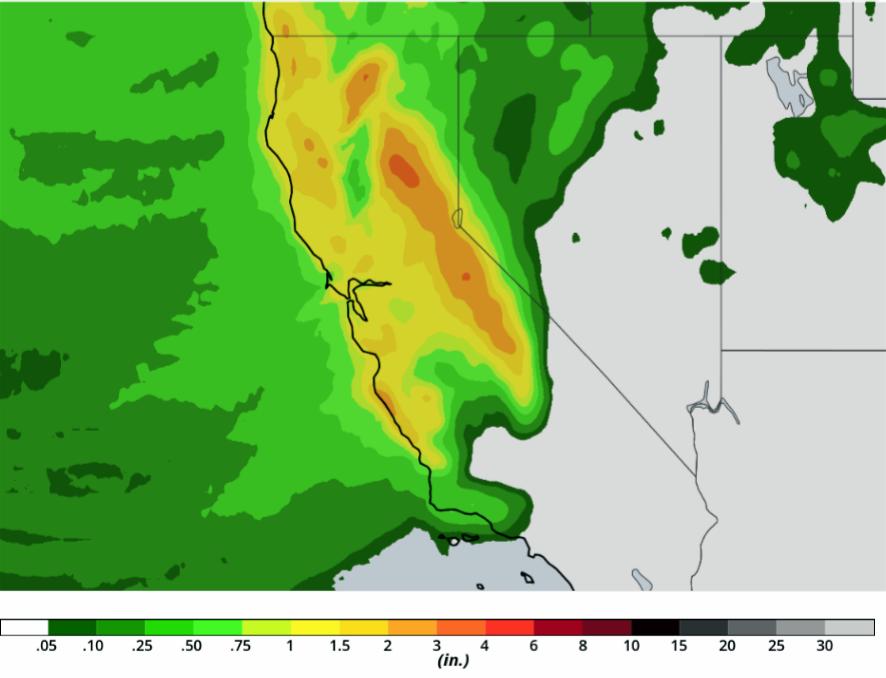 Heavy Rain to Impact Burn Areas in California