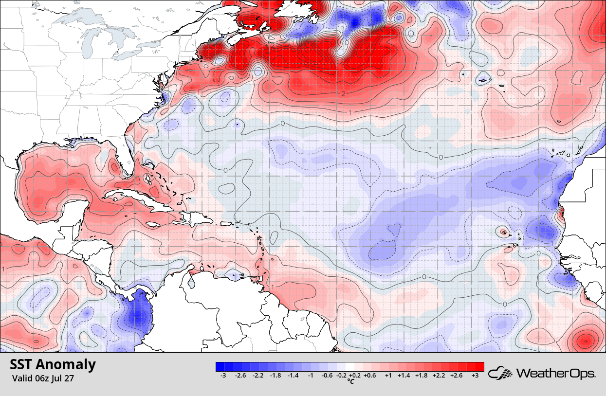 Cooler Than Normal Waters Persist Throughout Much of the Tropical North Atlantic
