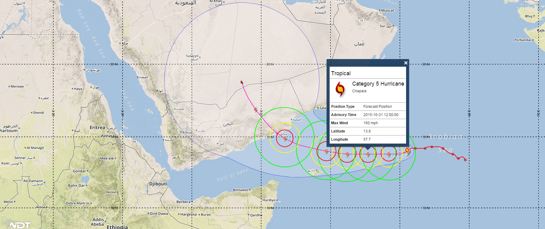Cyclone Chapala expected track