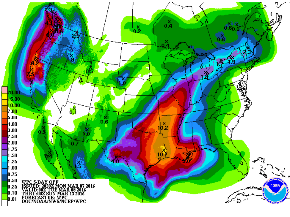 Flooding Conditions for Early Planters in the Southern Plains
