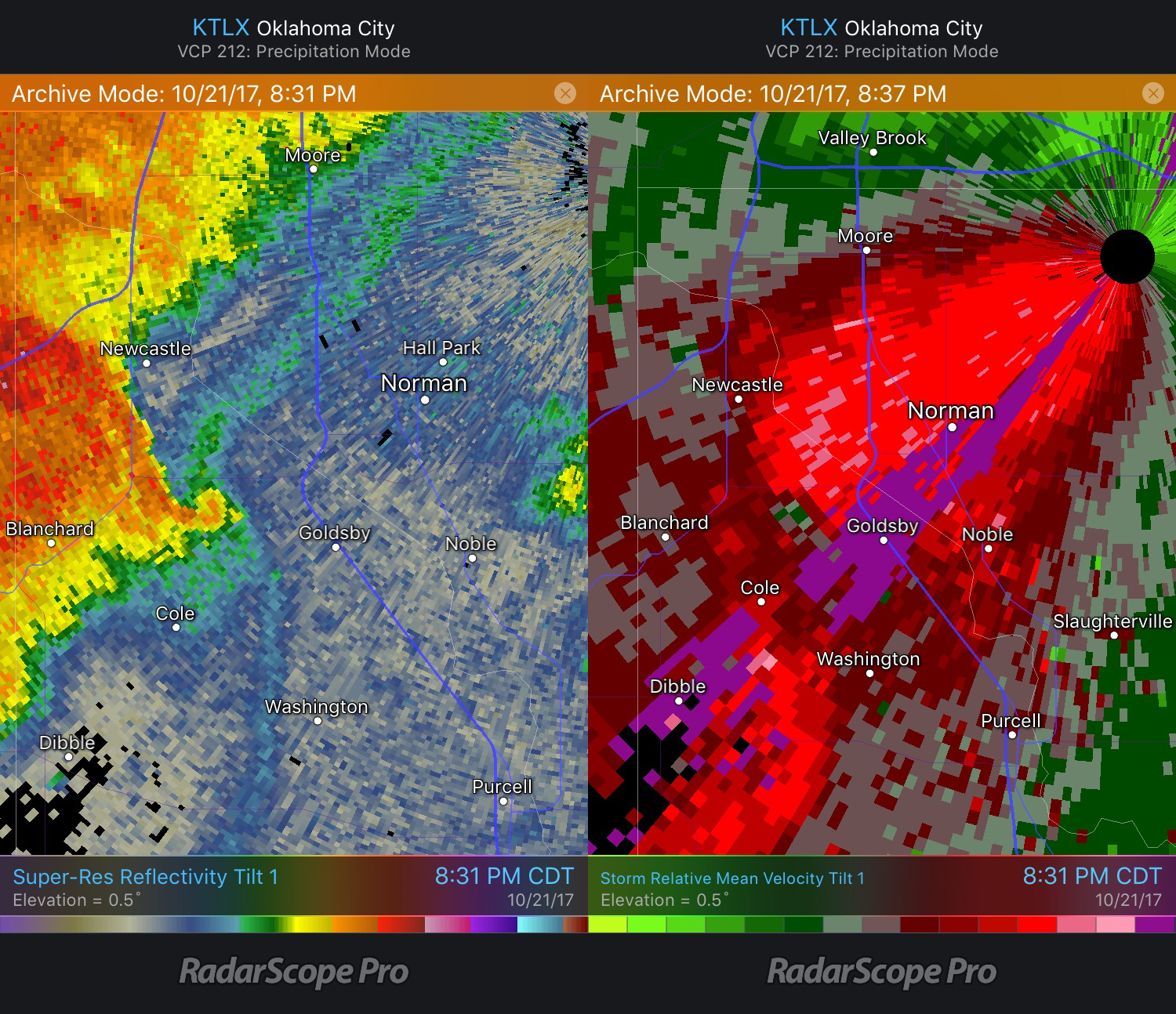 RadarScope: Comparing Tornado Signatures from NEXRAD and TDWR