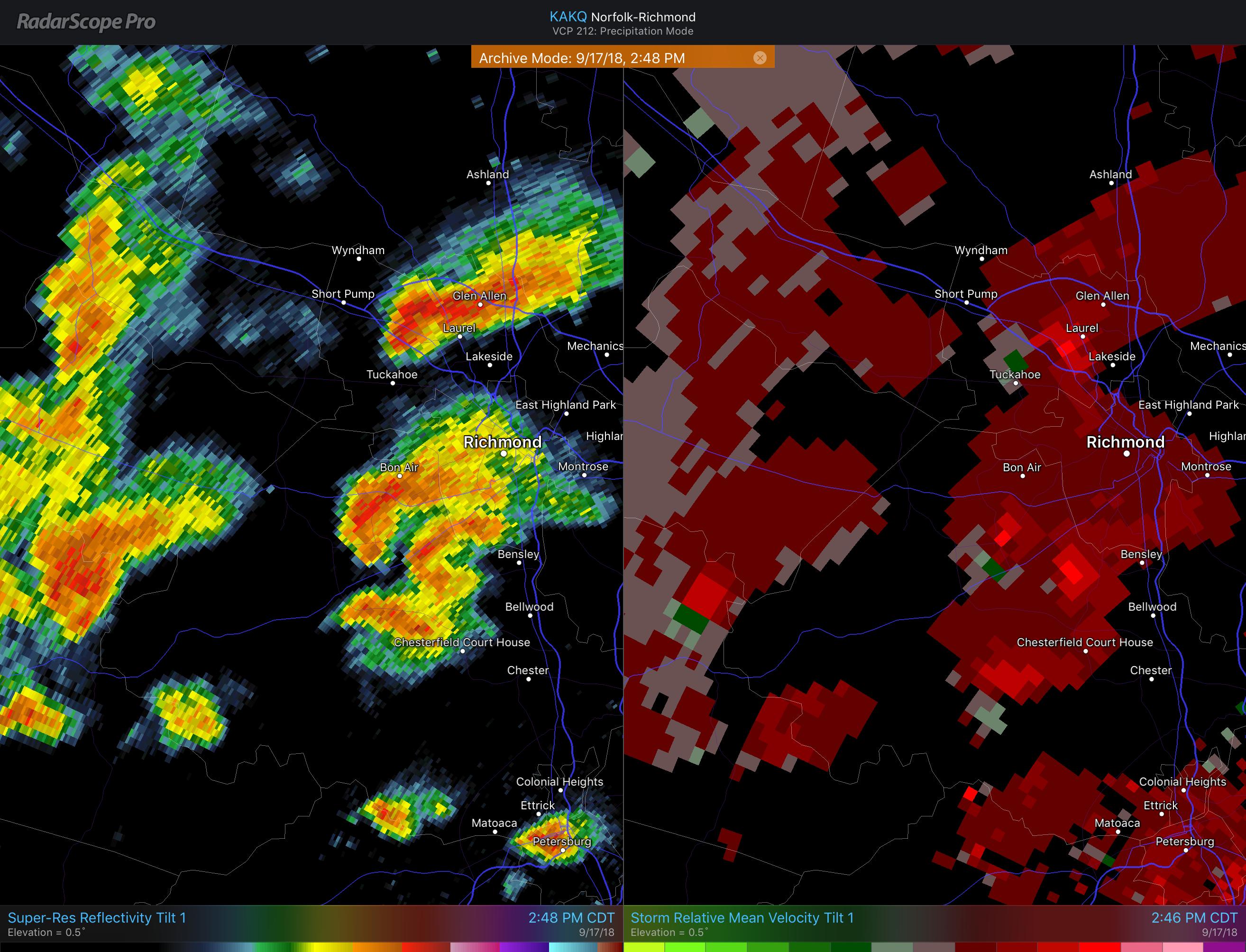 RadarScope: Tornado Signatures in Hurricanes