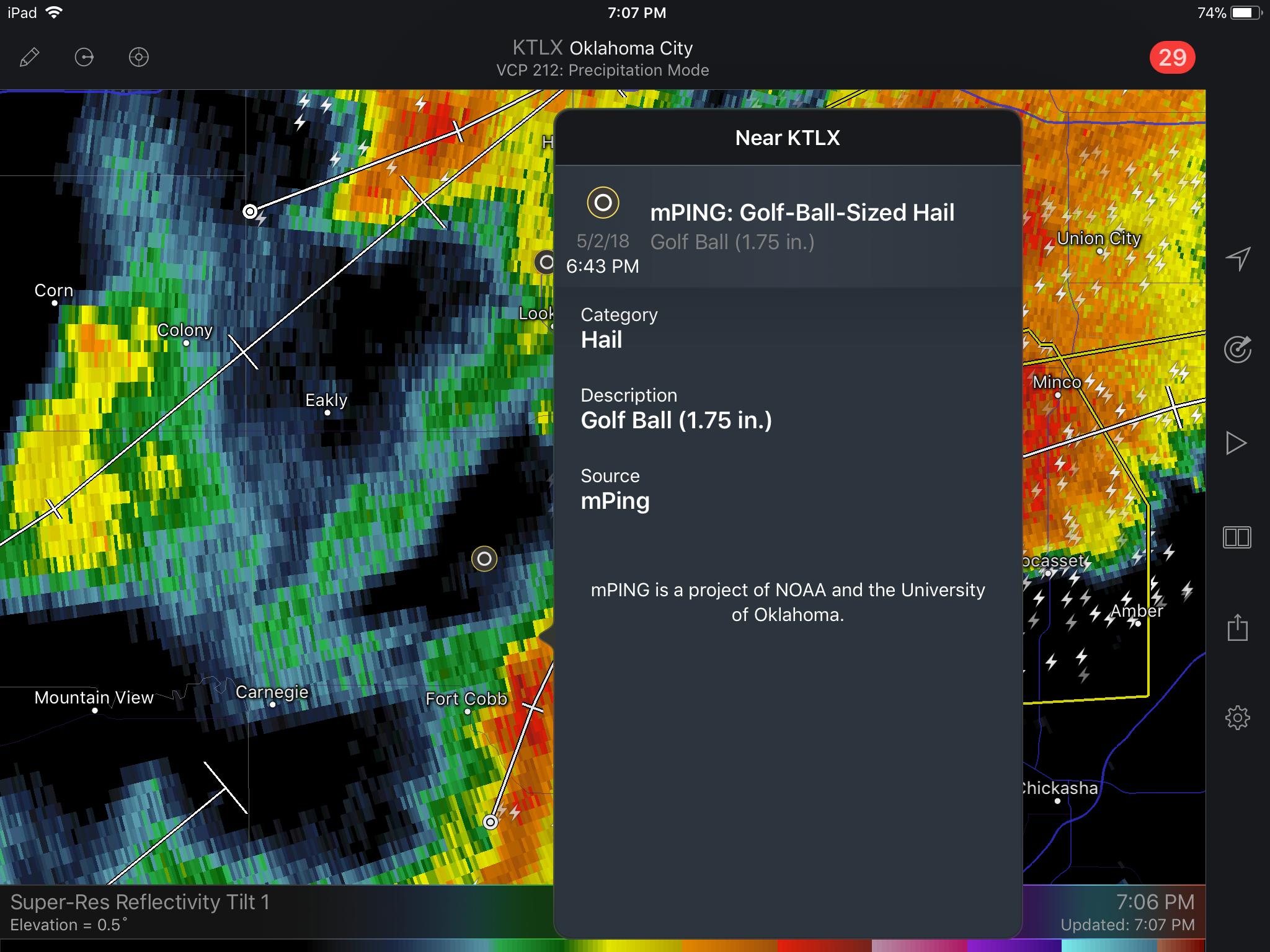 RadarScope: Using mPING to Report Hail