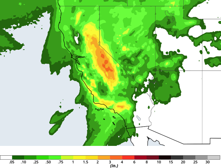 Rainfall Totals for California- March 22, 2018